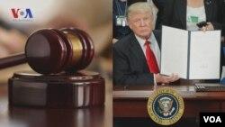 Presiden AS Donald Trump menunjukkan Keputusan Presiden atau Perintah Eksekutif tentang imigrasi yang baru ditandatanganinya (foto: ilustrasi).