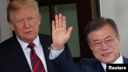 지난해 5월 백악관에서 도널드 트럼프 미국 대통령과 문재인 한국 대통령이 회담했다.