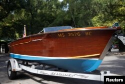 JFK's speedboat to be auctioned by Guernsey's as part of the 'John and Jackie Kennedy Pieces' in honor of what would have been JFK's 100th birthday are seen outside the Loeb Boathouse at Central Park in New York, Sept. 26, 2017.