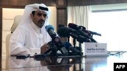 Saad Sherida Al-Kaabi, ministro de Estado de Asuntos Energéticos de Catar, durante una conferencia de prensa en la capital, Doha, el 3 de diciembre de 2018.