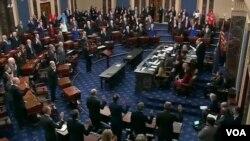 Sidang pemakzulan Presiden AS Donald Trump dimulai pekan ini dalam Senat yang mayoritas dikuasai partai Republik. (Foto: VOA/videograb)