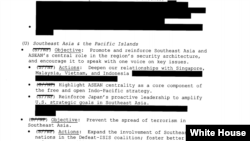 Trang 9 của Khung Chiếc lược Ấn Độ Dương - Thái Bình Dương của Hoa Kỳ có đề cập đến Việt Nam. Photo White House