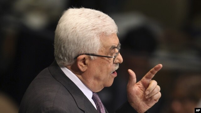 Palestinian President Mahmoud Abbas addresses the 67th session of the United Nations General Assembly at UN Headquarters, September 27, 2012.