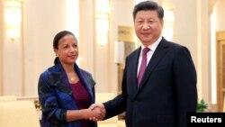 Nữ cố vấn an ninh quốc gia Mỹ Susan Rice gặp Chủ tịch Trung Quốc Tập Cận Bình trong chuyến thăm hồi tháng Bảy.