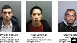 Ba tù nhân vượt ngục đang bị truy lùng. Từ trái: Jonathan Tieu, Hossein Nayeri, Bac Duong.