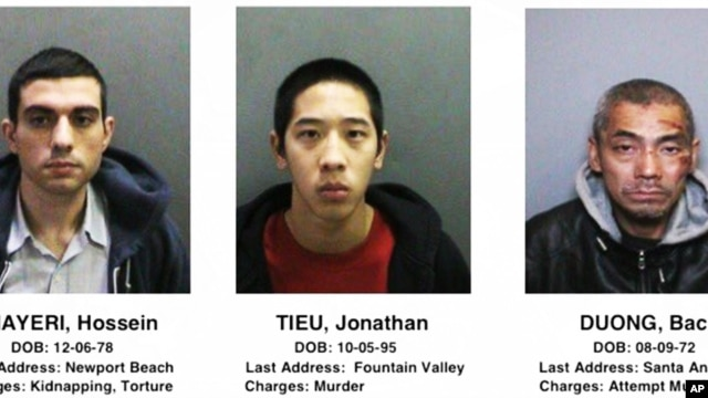 This image provided by the Orange County, Calif., Sheriff's Department on Saturday, Jan. 23, 2016, shows three jail inmates charged with violent crimes who escaped from the Central Men's Jail in Santa Ana, California.