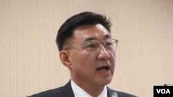 台湾最大在野党国民党立委江启臣(美国之音张永泰拍摄)