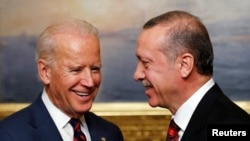 U.S. Vice President Joe Biden, left, meets with Turkey's President Tayyip Erdogan. (Nov. 22, 2014.)