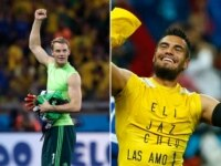 Germany's goalie Manuel Neuer and Argentina's goalkeeper Sergio Romero.