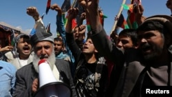 Afghan protesters shout anti-Pakistan slogans during a demonstration in Kabul, May 6, 2013.