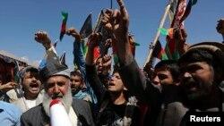 5月6日阿富汗抗议者在喀布尔呼喊反巴基地图口号