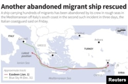 A map showing the tracks of two migrant ships carrying hundreds of people that were rescued by Italy in late December 2014.