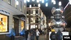 莫斯科市中心的一處購物街,武漢肺炎或減少去當地的中國訪客數量。(美國之音白樺拍攝)