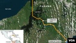 Mapa Panamskog kanala.