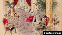 This unpublished illustration by Hilary Knight features Eloise slumped in a chair in the Plaza's enormous, opulent lobby. (Collection of Hilary Knight, © Kay Thompson)
