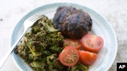 Grilled Kale with tomatoes and burger