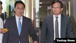 정병원 외교부 동북아시아국장(오른쪽)과 가나스기 겐지 일본 외무성 아시아대양주국장이 국장급 협의를 위해 9일 오전 서울 외교부 청사로 들어서고 있다.