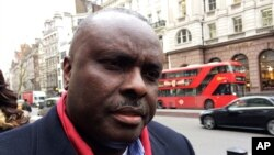 FILE - James Ibori, former governor of Nigeria's Delta State, speaks after a court hearing outside the Royal Courts of Justice in London, Britain, January 31, 2017.