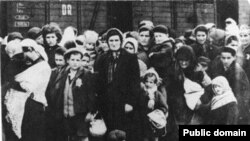 Extreme manifestation of anti-Semitism. Arriving Hungarian Jews on selection ramp at Auschwitz II-Birkenau Concentration Camp, May/June 1944. To be sent to the right meant labor; to the left, the gas chambers. Note Star of David displayed on boy's lapel.