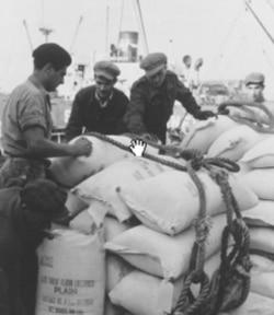 American flour being unloaded in Greece