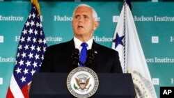 """Vice President Mike Pence speaks Oct. 4, 2018, at the Hudson Institute in Washington. Pence said China was using its power in """"more proactive and coercive ways to interfere in the domestic policies and politics of the United States."""""""