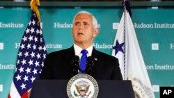 Phó Tổng thống Mike Pence phát biểu tại Viện Hudson, ngày 04 tháng 10 năm 2018.