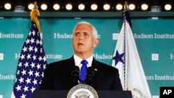 Phó tổng thống Mike Pence phát biểu ngày 4 tháng 10, 2018 tại Hudson Institute, Washington.