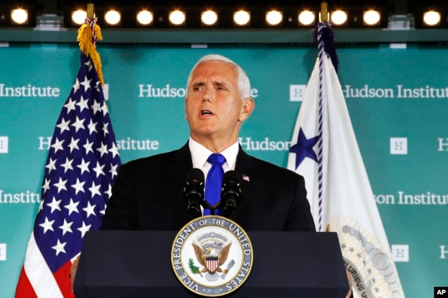 "Vice President Mike Pence speaks, Oct. 4, 2018, at the Hudson Institute in Washington. Pence said China was using its power in ""more proactive and coercive ways to interfere in the domestic policies and politics of the United States."""