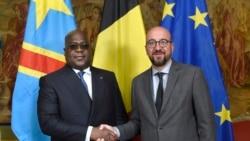 Président Félix Tshisekedi ya RDC na président ya Commission européenne mpe ministre wa Yambo ya kala ya Belgique, Charles Michel, na Bruxelles, Belgique, 17 septembre 2019.