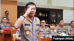 Kepala Badan Reserse dan Kriminal Kepolisian Republik Indonesia (Polri) Komisaris Jenderal Idham Azis di Komisi III DPR, Rabu, 30 Oktober 2019. (Foto: VOA / Fathiyah)