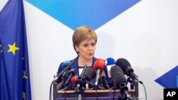 FILE - Scotland's First Minister Nicola Sturgeon speaks at the Scotland House in Brussels, Belgium, June 29, 2016.