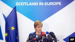 FILE - Scotland's First Minister Nicola Sturgeon speaks during a media conference at the Scotland House in Brussels, Belgium, June 29, 2016.