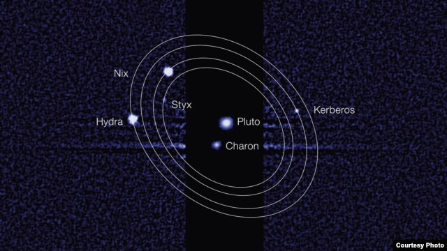 This discovery image, taken by the NASA/ESA Hubble Space Telescope, shows five moons orbiting the distant, icy dwarf planet Pluto.