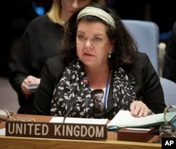 FILE - United Kingdom Ambassador Karen Pierce address a meeting of the United Nations Security Council at U.N. headquarters, Oct. 23, 2018.
