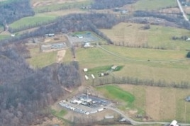 A gas well rig in the Pennsylvania countryside