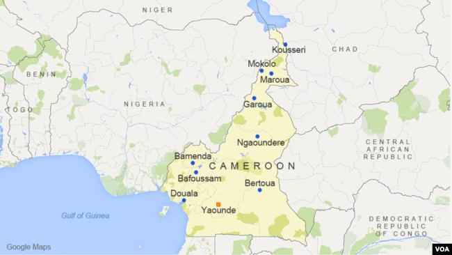 Cameroon, featuring the cities of Douala, Yaounde, Garoua, Kousseri, Bamenda, Maroua, Bafoussam, Mokolo, Ngaoundere, and Bertoua