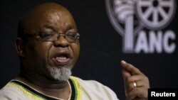 FILE - African National Congress Secretary General Gwede Mantashe is seen speaking to the media in Pretoria, South Africa, March 20, 2016. Mantashe, too, has alleged the U.S. is pushing regime change in South Africa.