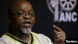 FILE - Gwede Mantashe of the African National Congress (ANC) briefs the media in Pretoria, South Africa, March 20, 2016.