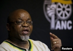 FILE - African National Congress (ANC) Secretary General Gwede Mantashe speaks in Pretoria, South Africa, March 20, 2016.