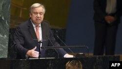 Antonio Guterres à l'ONU à New York le 25 septembre 2018.