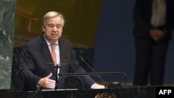 Antonio Guterres Secrétaire général des Nations Unies lors du débat général de la 73ème session de l'Assemblée générale des Nations Unies à New York le 25 septembre 2018.