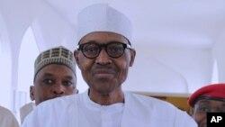 Le président du Nigeria, Muhammadu Buhari à Abuja, Nigeria, 5 mai 2017.