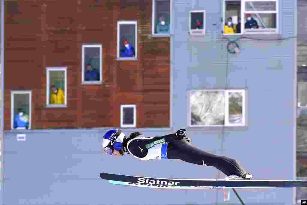 Japan's Sara Takanashi competes at the women's Ski Jumping World Cup event in Rasnov, Romania.