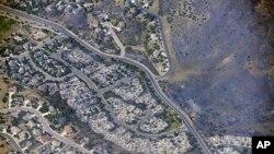 27일 초대형 산불로 피해를 입은 콜로라도 주 스프링스 주택가.