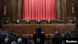 Ohio Supreme Court Justice Judith French (far L) listens to oral arguments during a court session in Columbus, Ohio, Sept. 15, 2015.