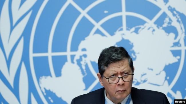 联合国缅甸事实调查组组长达鲁斯曼2018年9月18日在日内瓦见记者(路透社)