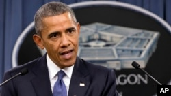 President Barack Obama speaks to the media after receiving an update from military leaders on the campaign against the Islamic State, during a rare visit to the Pentagon, July 6, 2015.
