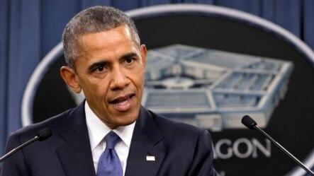 奥巴马总统在五角大楼发表讲话。