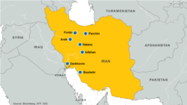 Nuclear facilities and sites in Iran.