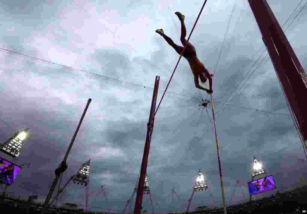 Australia's Alana Boyd clears the bar in the women's pole vault final.